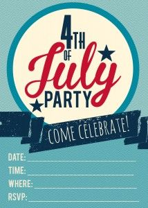 Get your 4th of July Party started with this free party invitation. Simply, print, fill out and pop in the mail!  Your guests will love getting an official invite in the mail!