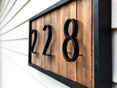 Home Interior Velas DIY Modern House Number Sign with Wood Shims.Home Interior Velas DIY Modern House Number Sign with Wood Shims Velas Diy, Door Numbers, Door Number Sign, Address Numbers, House Number Signs, Diy Holz, 3d Prints, Curb Appeal, Home Remodeling