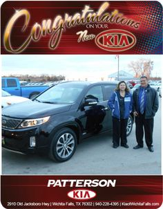 Congratulations to Carolyn Holley on her new 2014 Kia Sorento! - From David Reece at Patterson Kia!