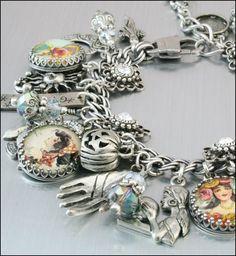 Gypsy Charm Bracelet, Silver Charm Bracelet, Gypsy Charm Jewelry, Magical Celtic Jewelry, Stainless Steel Bracelet via Etsy