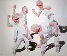 La risa estridente convertida en mueca, es sin duda la marca más visible en la obra de #YueMinjun