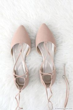 Faux Suede Pointy Toe Strappy Lace Up Ballet Flats-Nude Beige