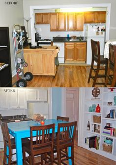 The CHICago Life Blog | Sarah's Lincoln Park Living Room Makeover  White cabinets, turquoise kitchen table