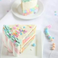 Happiness is…. #Marshmallow + #candy swirl #cake! via @sprinklebakes x