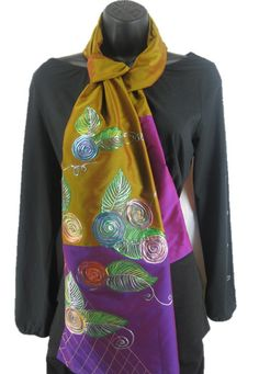 ******* Purple Parade ******    This scarf stands out for its rustic Indian shades and its beautiful hand painted motifs. With A range of colors worked onto the fabric, it speaks of richness and subtle drama. The panels of purple add zing and lift the pattern.    Women's Hand Painted Summer Scarf by ArachneStyle on Etsy, $65.00