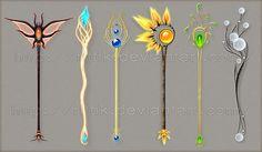 Staffs and wands by Rittik-Designs on DeviantArt Fantasy Jewelry, Fantasy Art, Pixel Art, Sword Design, Anime Weapons, Magical Jewelry, Weapon Concept Art, Magic Art, Art Tutorials