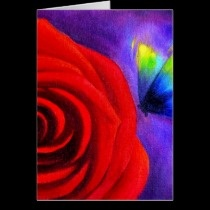 Red Rose With Butterfly Painting Art Cards