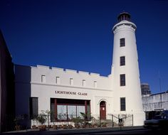 The Louisiana Commission for the Blind held classes in this building starting in 1915. The lighthouse was built onto the existing building in 1924 and the organization later changed its name to the Lighthouse for the Blind in New Orleans. The building housed an art gallery when this photo was taken by Carol M. Highsmith. Carol M. Highsmith's America, Library of Congress Prints and Photographs Division.