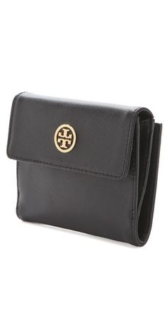 Tory Burch Robinson Double Snap Wallet, color black