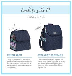 Head back to school with cinda b's two new styles -- the Lunch Sack and the Everyday Backpack.  Proudly made in America.