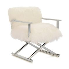 A & B Home Accent Chairs Mongolian Lamb Fur Director's Chair