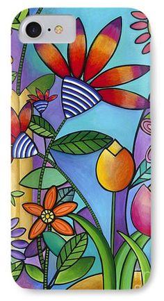 Wild Flowers Phone Case by Carla Bank Indian Art Paintings, Easy Paintings, Flower Iphone Wallpaper, Cute Doodle Art, Pole Art, Painted Rocks Craft, Flower Doodles, Floral Wall Art, Dot Painting