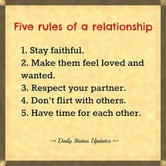 Five Rules of a Relationship