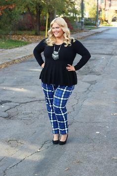 Plus Size Fashion - Eloquii Printed Kady Fit Pant Blue Plus Size Pants