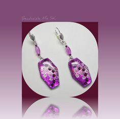 New Year's Sale polymer clay Dangle Purple Earrings. via Etsy.