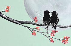 Original Leinwand Malerei Love Bird Gemälde von LindaFehlenGallery