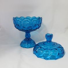 "Vintage Blue Glass ""Moon and Stars"" Candy Dish from TietheKnotVintage on Etsy $32.00"