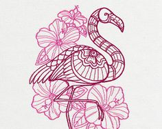 Delicate Flamingo with Hibiscus Embroidered Flour Sack Hand/Dish Towel Flamingo Tattoo, Flamingo Art, Pink Flamingos, Flamingo Painting, Embroidery Patterns, Hand Embroidery, Machine Embroidery, Rose Line Art, Doodles