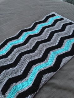 Chevron Crochet Baby Boy Blanket Black Turquoise Grey - MADE TO ORDER via Etsy