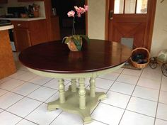 50-year-old table that Hubby wanted to toss, until he saw this marvelous makeover.