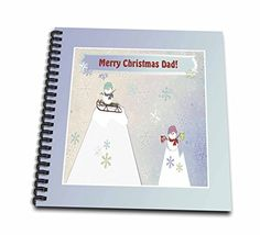 Beverly Turner Christmas Design - People on the Mountains with Sled and Hot Chocolate, Merry Christmas to Dad - Memory Book 12 x 12 inch (db_157939_2) >>> Check out the image by visiting the link.