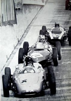 Monaco 1961, Dan Gurney (Porsche, 5th) followed by Phill Hill (Ferrari Sharknose, 3rd) Bruce McLaren (Cooper Climax, 6th) Epic win of Stirling Moss on Lotus Climax.