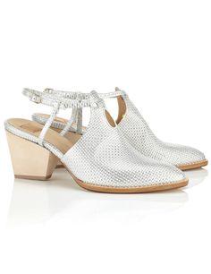 75mm Silver Leather Open Shoe Boots   Zoe Lee   Avenue32