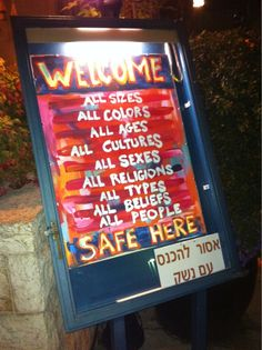 Sign outside a cafe in Israel. What a fabulous country we have! www.israelforever.org