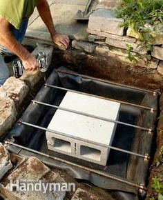 Pin now and read later. Backyard Waterfall - Step by Step: The Family Handyman (Diy Garden Waterfall) Backyard Water Feature, Ponds Backyard, Backyard Landscaping, Backyard Waterfalls, Garden Ponds, Koi Ponds, Backyard Patio, Tropical Landscaping, Diy Patio