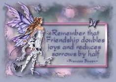 Remember that Friendship doubles joys and reduces sorrows by half. ~ Frances Bacon