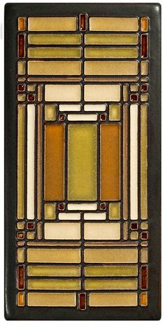 Frank Lloyd Wright's Home and Studio located Oak Park, Illinois, opened in 1889. This tile is adapted from a detail of an art glass window Wright designed for the studio. Details Dimensions: 3.8 x 7.8