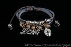 Bracelet Love Bracelet Black Leather Bracelet Cuff by JuGao, $4.90