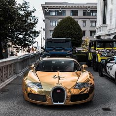 Awesome Gold Bugatti Veyron Front View