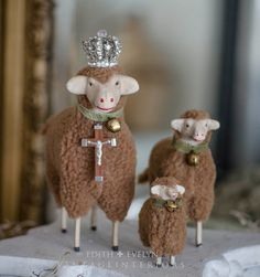 German Style Sheep Trio with Stick Legs by edithandevelyn on Etsy