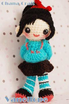 Vanellope Von Schweetz crochet amigurumi PDF pattern
