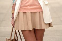 Super into fun, flirty skirts with loose layered tops this season! Love this!