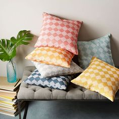 Hand-Loomed Subtracted Diamonds Pillow Cover - Horseradish | West Elm