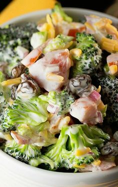 Broccoli Salad - perfect!! - without raisins and sauce - use Greek yogurt and ranch packet