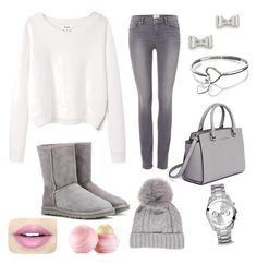 """""""winter greys"""" by rabiahk on Polyvore featuring Acne Studios, Paige Denim, UGG Australia, MICHAEL Michael Kors, Marc by Marc Jacobs, FOSSIL, Fiebiger and Eos"""