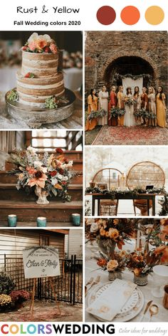 Rust & Yellow Wedding: mismatched bridesmaid dresses, naked wedding cake, bridal bouquet, wooden table and chairs, welcome sign. Burnt Orange Weddings, Orange Wedding Colors, Blush Pink Weddings, Fall Wedding Colors, Wedding Color Schemes, Spring Wedding, Mustard Wedding Colors, January Wedding Colors, Yellow Weddings