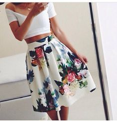 this is honestly pattern- The pattern is is found on the skirt with flowers all over the mid length skirt  THIS IS ROMANTIC!!