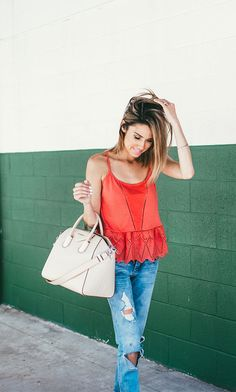 Relaxed summer style, vibrant tank with details
