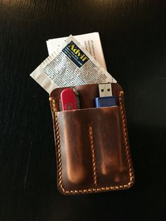 Horween pull-up leather, hand stitched Card case has pockets for business cards, usb flash drive and Swiss Army knife classic  (This listing is only for the leather case, knife and usb drive are not included)