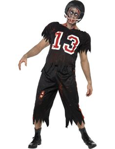 Mens High School Zombie Dead Footballer Halloween Fancy Dress Costume  Zombie Football Player Costume f3e76784fdb4