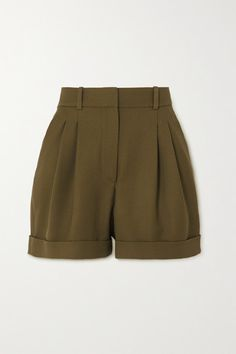 Racil - City Pleated Wool-twill Shorts - Army green