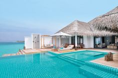 Two Bedroom Ocean Lagoon Pool Villa - Finolhu - Maldives Water Villas Pool Bedroom, Lagoon Pool, Water Villa, Overwater Bungalows, Small House Decorating, Decorating Ideas, Modern Bedroom Design, Modern Bedrooms, Bedroom Designs
