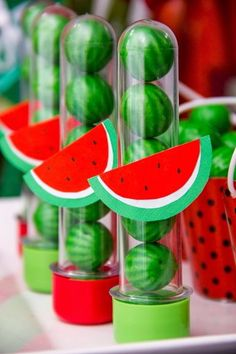 Magali or Watermelon Decoration: Over 50 Ideas - Magali or Watermelon Decoration: Over 50 Ideas – Inspire Your Party ® - Watermelon Birthday Parties, Fruit Birthday, Fruit Party, 1st Birthday Parties, Moana Party, Flamingo Party, Hawaian Party, Baby Party, First Birthdays
