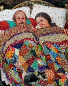 17 Best images about Patchwork & quilt & applique (people . Art And Illustration, Couples Âgés, Figurative Kunst, Paintings I Love, Naive Art, Whimsical Art, Funny Art, Vintage Pictures, Collage Art