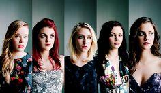 Pandora, Emily, Naomi, Katie, Effy (Cast of UK Skins generations 3 and 4)