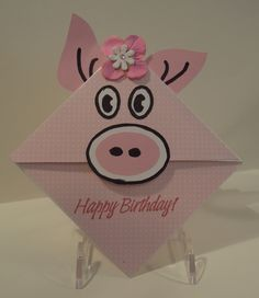 Handmade card, Designs by Judy Talley. Pink Pig Happy Birthday. This is made like a corner bookmark, but still opens so you may add your own greeting.